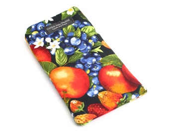 Garden Fruit fabric Eyeglass Reader Case. Multi-functions as a checkbook case or cell phone pouch.