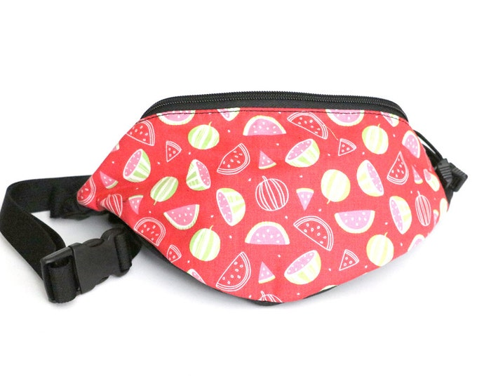 Fanny pack Watermelon Toss fabric  - Hip Waist Bag with 2-zippered compartments