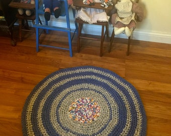 Handmade Rag Rug Shades of Blue and Gray and Colorful Center Mixed  2 ft. 9 Inches