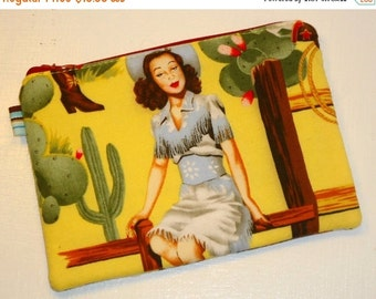 Padded Zippered Pouch / Cosmetic Bag / Coin Purse / Small Clutch / Handbag Organizer / Wallet -- Pin Up Cowgirls (Other Colors Available)