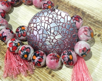 """beautiful pastel pink ceramic beads string 15"""" with a free matching  pendant /craft supplies/jewelry making"""