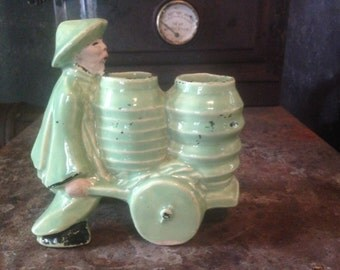 McCoy Asian Man Water Cart Double Vase Handpainted Celadon Green Desk Catch-All Vintage Cutie USA