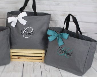 5 Personalized Bridesmaid Gift Tote Bags- Embroidered Tote - Maid of Honor Gift - Name Tote- Mother of the Bride, Mother of the Groom