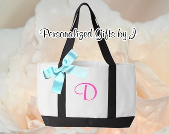9 Personalized, Monogrammed Bridesmaid Gifts, 2- Color, Tote Bags, Monogrammed Totes, Bridesmaids Tote, Personalised Gifts Totes, Wedding