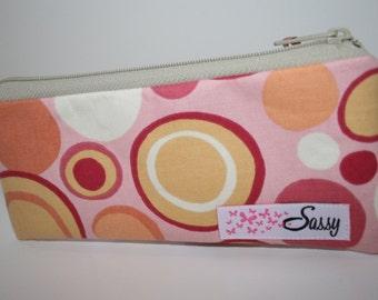 Pink Circles Fabric Makeup Bag, Small Size Cosmetic Bag, Travel Make up Bag, Lined Makeup Bag