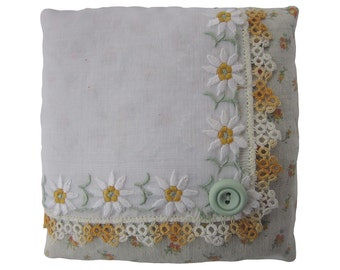 Lavender Sachet Repurposed Vintage Handkerchief - Embroidered Daisies