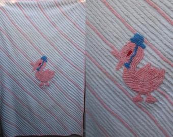 Vintage 40s Stork Chenille Baby Blanket / Pink and White handmade Nursery Sheet Blanket topper