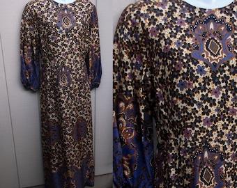 Vintage 60s Purple Daisy Floral Long Maxi Caftan Dress by Marisa // Sz XL