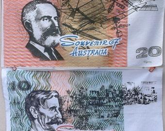 2 Vintage Australian Dollar Kitchen / Tea Towel set by Randa // Twenty and Ten Dollars Towels