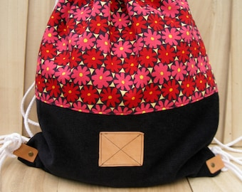 NEW Red flowers BACKPACK Bag wool corduroy school backpack drawstring gym grocery excursion bag unisex