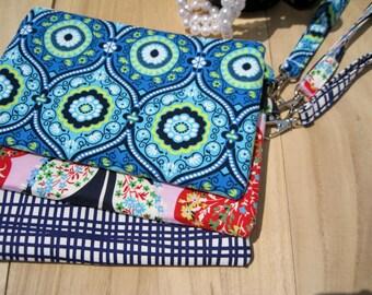 Wedding Clutch 2 pockets,discount plan set, cotton, medium, blue, wristlet