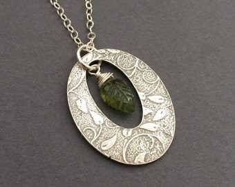 Growing Garden, Olive Green Vesuvianite, Fine Silver Pendant, Sterling Silver Necklace, erinelizabeth