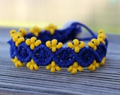 Micro-Macrame Beaded Hemp Cuff Bracelet - Royal Blue and Bright Yellow