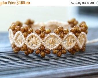 SALE Micro-Macrame Beaded Bracelet - Sandstone and Wheat