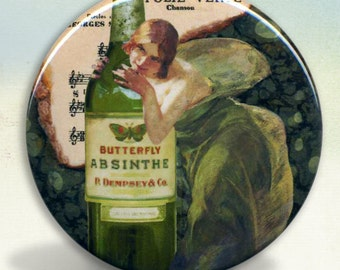 Absinthe Green Fairy Pocket Mirror