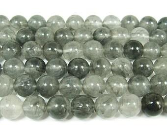 Cloud Grey Quartz Round Gemstone Beads