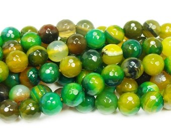 Green Yellow Agate Faceted Gemstone Beads