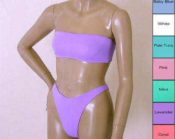 80s Thong Bikini Bottom Swimsuit with High Leg and Strapless Bandeau Top in White, Pink, Mint, Turquoise, Blue, Lavender, Coral