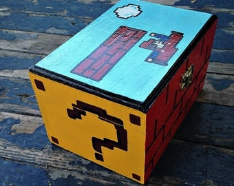 Mario Hand Painted Wood Jewelry Box Nintendo Geekery 8 Bit Video Game Arcade Grad Gift
