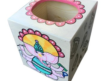 Bathroom Ganesh Hand Painted Tissue Box Matches Toilet Seat in my Shop