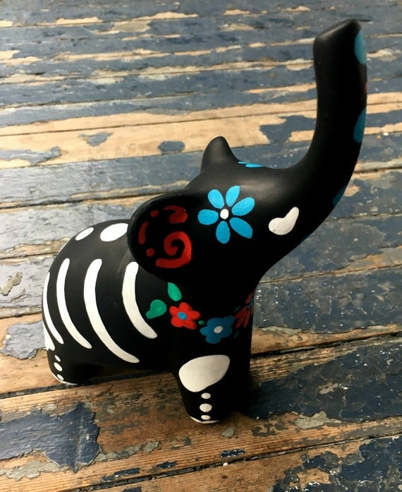 Day of the Dead Ceramic Elephant Hand Painted Halloween