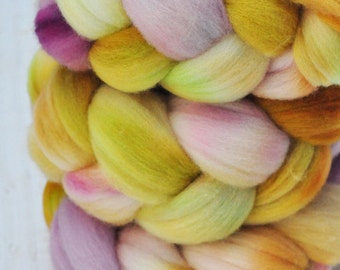 Hand Dyed Merino Top Wool Roving - Hand Painted - Spinning - Felting - Plums and Honey - 4.2 Ounces