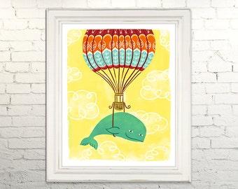 WHALE ADVENTURE Printable Art print poster Instant Download Digital Children Kids Nursery Illustration Artwork Hot Air Balloon Animals