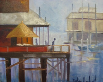Fisherman's Wharf  BarbsGarden Barbara Haviland Seascape,oil painting