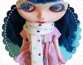 Winter Scarf for Blythe / Multi Polka Dot