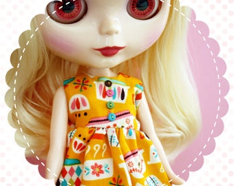 Pyrex Passion / One-of-a-Kind Doll Dress for Blythe