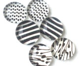 CLEARANCE THREE PACK of Stud Earrings -- Glass Earrings -- Glass Stud Earrings (Black and White Mix No.5)