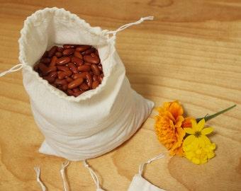 bulk food bags - reusable drawstring organic cotton bags - quart size - zero waste - plastic free - eco friendly
