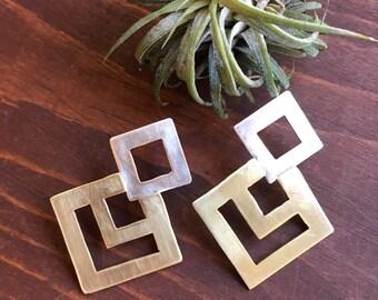 STELLA - Sterling Silver and Brass Earrings