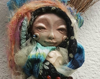 Kitchen Witch, Besom, Moonstruck Art Doll, Shabby Chic Decor,ooak art doll, assemblage art.