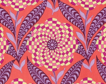 Amy Butler Eternal Sunshine Zebra Bloom in Persimmon cotton quilt fabric - one yard or by the yard, Amy Butler fabric