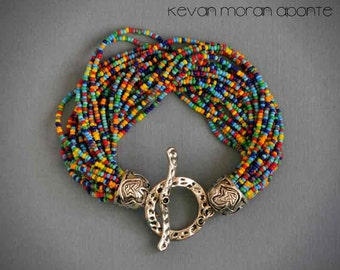 Beaded bracelet of many colors - seed beads