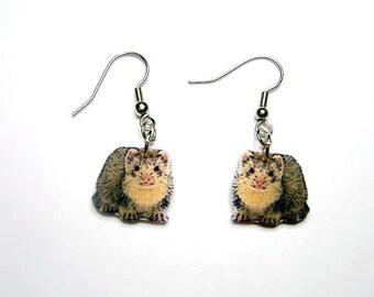 Handcrafted Plastic Ferret Earrings Hooks, Studs, Leverback, Clipon