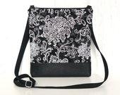 Small Crossbody Bag, Black Hip Purse, Zipper Cross Body Purse - Filigree Flourish in Black, White and Gray