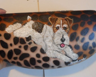 Fox Terrier Dog  Hand Painted Eyeglass Case Vegan Singlass Case