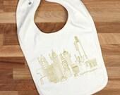 Philadelphia baby bib, Philly skyline organic cotton bib, gender neutral baby gift, Philadelphia gift, baby shower gift