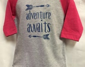 "Girls BaseBall3/4 Sleeved Shirt with ""Adventure Aw..."