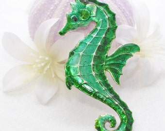 Green Seahorse Necklace Kermie- Seahorse Pendant - Nautical - Seahorse Jewelry