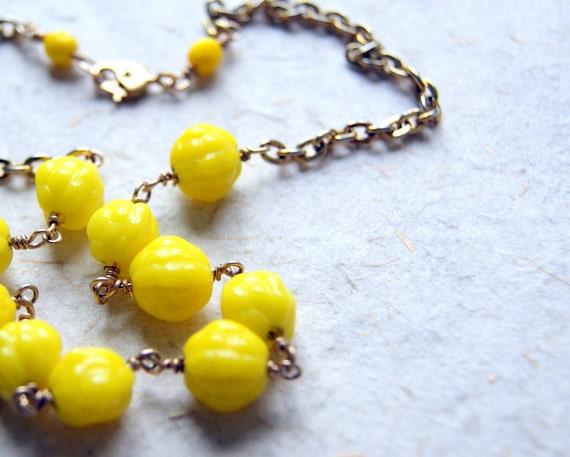 Yellow Glass Choker - bright yellow berry shaped vintage beads with salvaged chain - garden inspired - boho chic - summer fashion