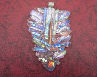 Large dichroic glass pendant sterling silver bail pendant Hand crafted fused glass pendant Layers of dichroic glass Unusual focal design