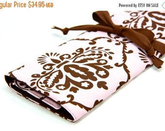 SALE large knitting needle case - art tool organizer - leanika damask - brown pockets for circular, straight, dpn, or paint brushes