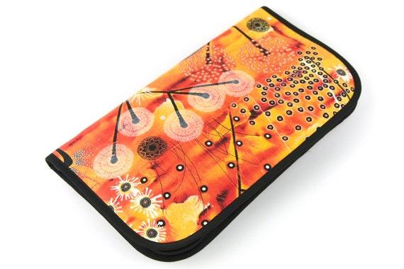 Super Size Zip Around knitting needle case organizer - Bellflower - black pockets see-thru notions zipper pouch