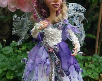 OONA- One Of A KInd, FAIRY, elf, Clay, Handcrafted, Sculpture, Home Decor, Art Doll, purple, Michelle MUnzone, signed by artist, umbrella,