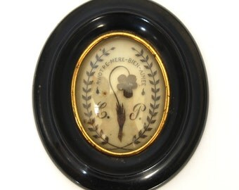 "Antique Victorian Mourning Hair Framed Memorial with MOTTO ""A Notre Mere Aimee""- Our Beloved Mother Bombe Glass Monogram Flower Circa 1860"