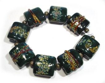 Forest Green Raku Nuggets, Handmade Glass, SRA Lampwork Beads, Green Lampwork Beads, Handmade Lampwork