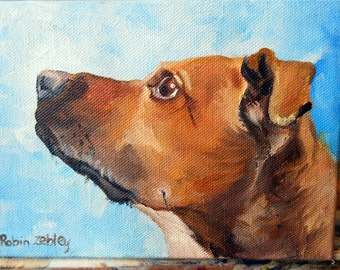 Oil Painting Dog Portrait, Rhodesian Ridgeback mix or any breed